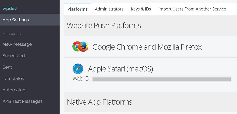 apple safari web id