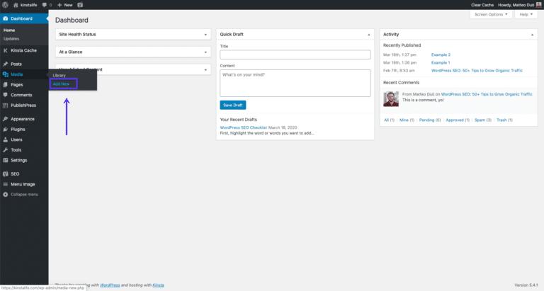 Acceder al cargador de multimedia de WordPress