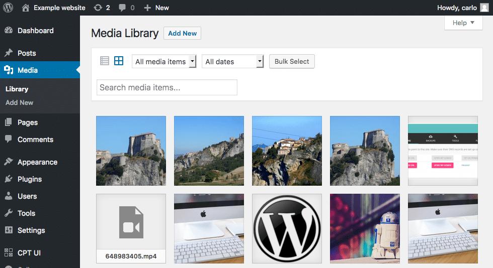 biblioteca multimedia wordpress