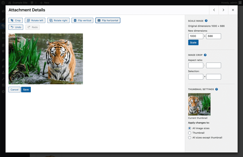 Volteo horizontal de la imagen en WordPress