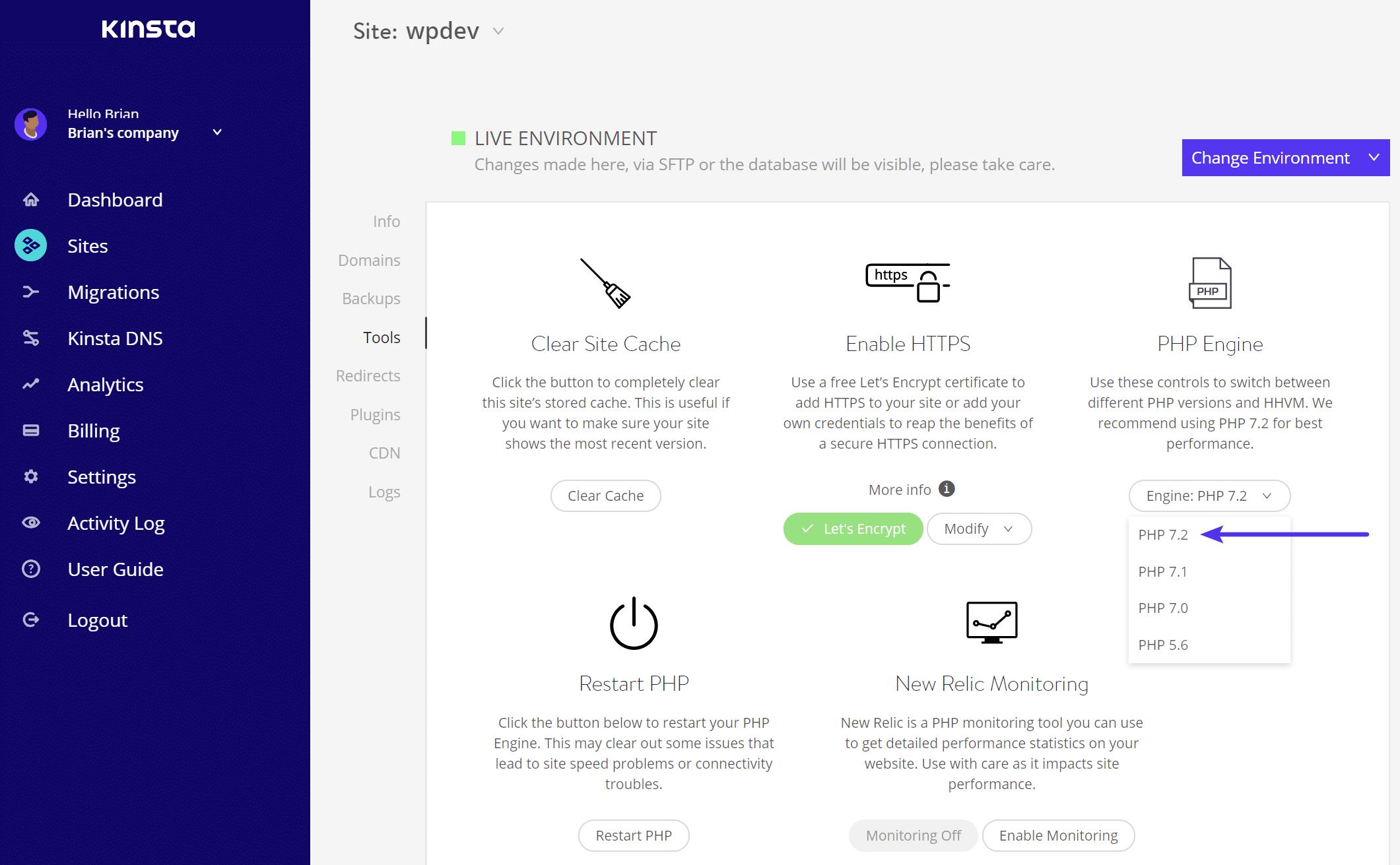 Cambie la versión de PHP de WordPress
