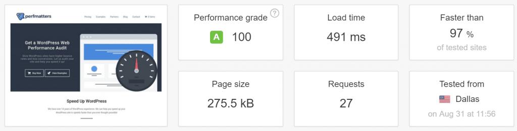 La prueba de velocidad en Pingom después de DNS