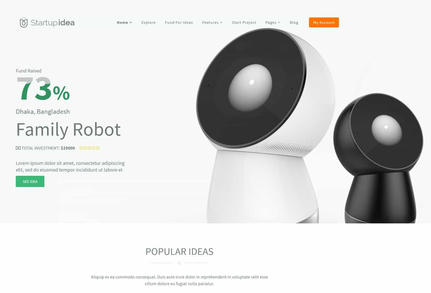 tema de startup idea wordpress