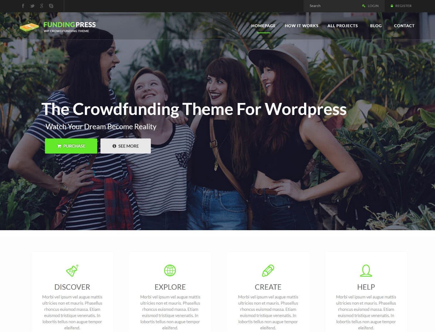 tema fundingpress wordpress