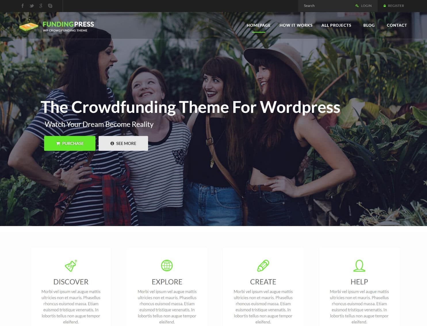 tema fundingpress wordpress