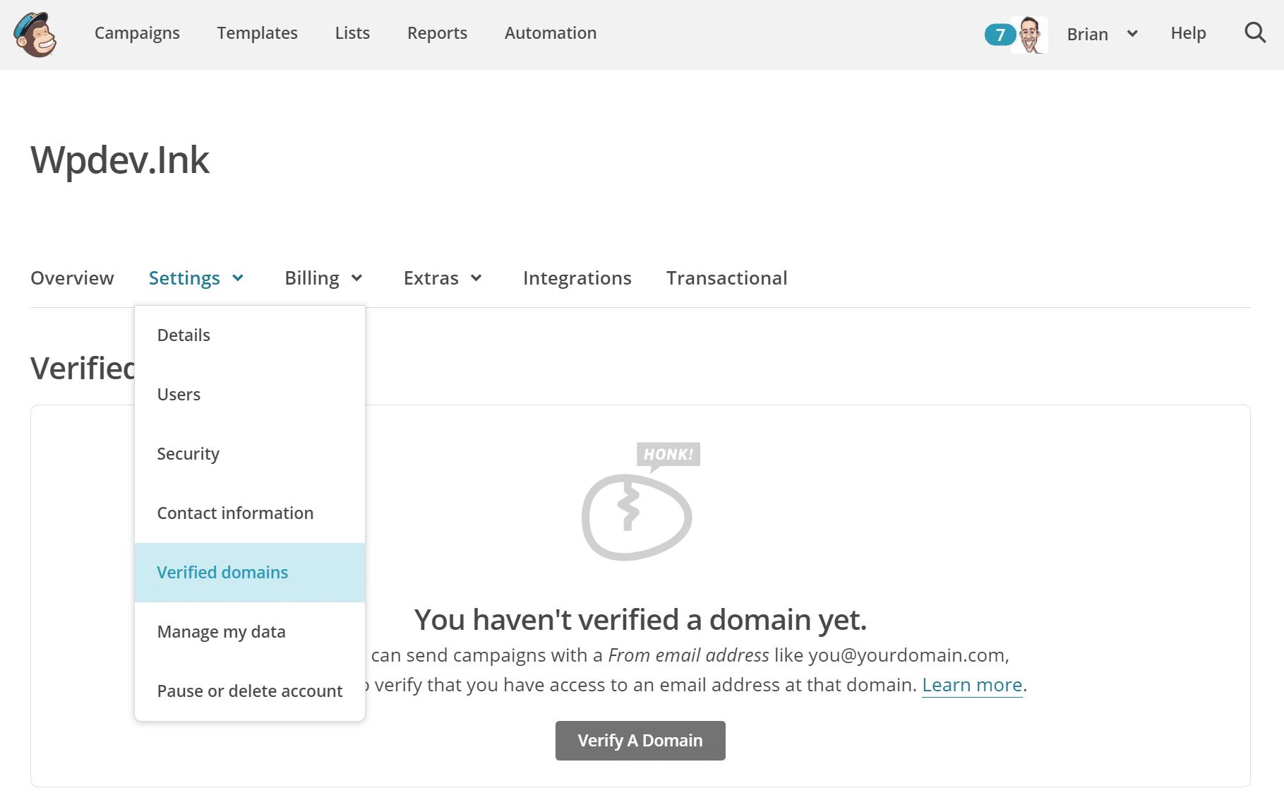Dominios verificados de Mailchimp
