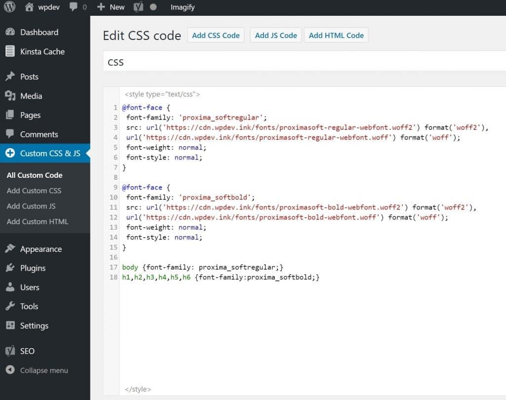 Fuentes locales persionalizados código CSS