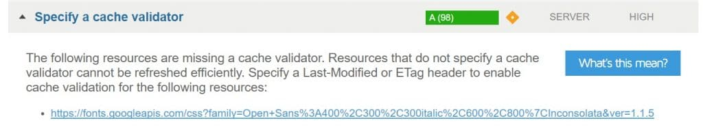 Specify a cache validator