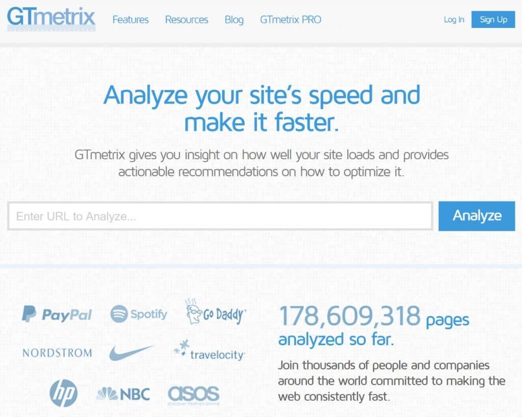 GTmetrix prueba de velocidad de sitio web
