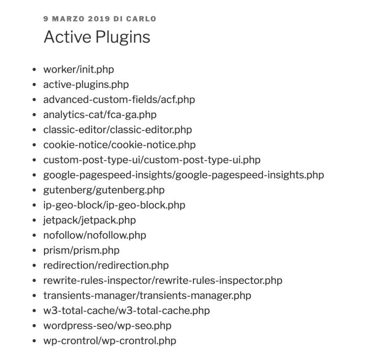 La lista de plugins activos muestra la carpeta y el nombre de cada plugin.