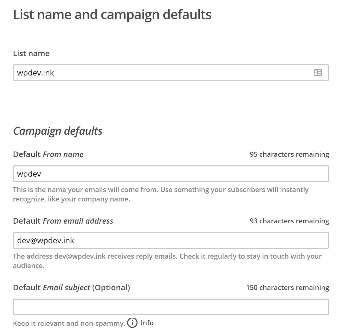 Lista de dirección email