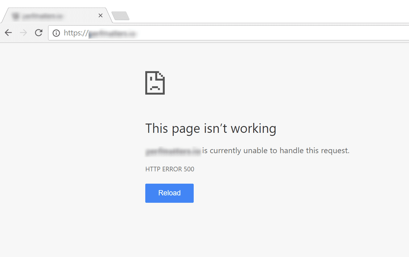 La pantalla blanca de la muerte de WordPress en Google Chrome