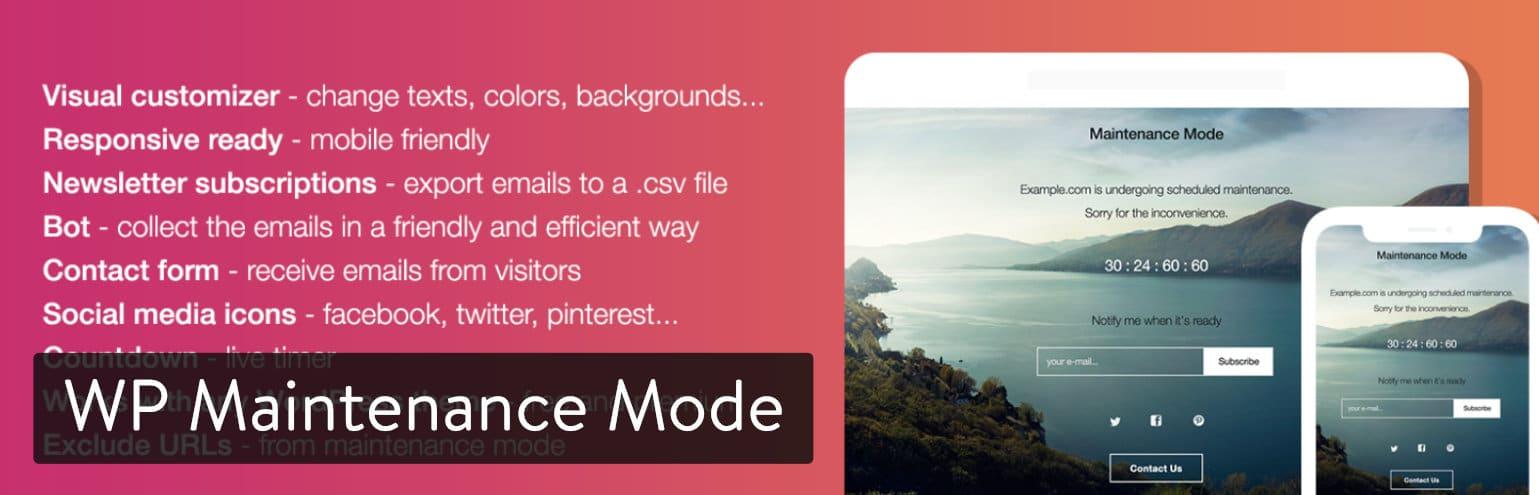 Plugin WP Maintenance Mode para WordPress