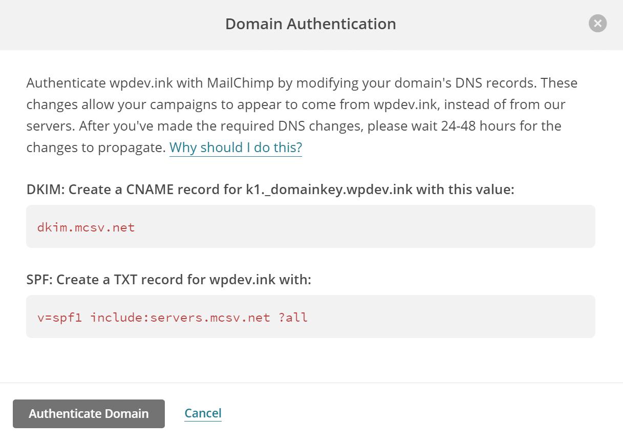 Récords de autenticación de dominio de Mailchimp