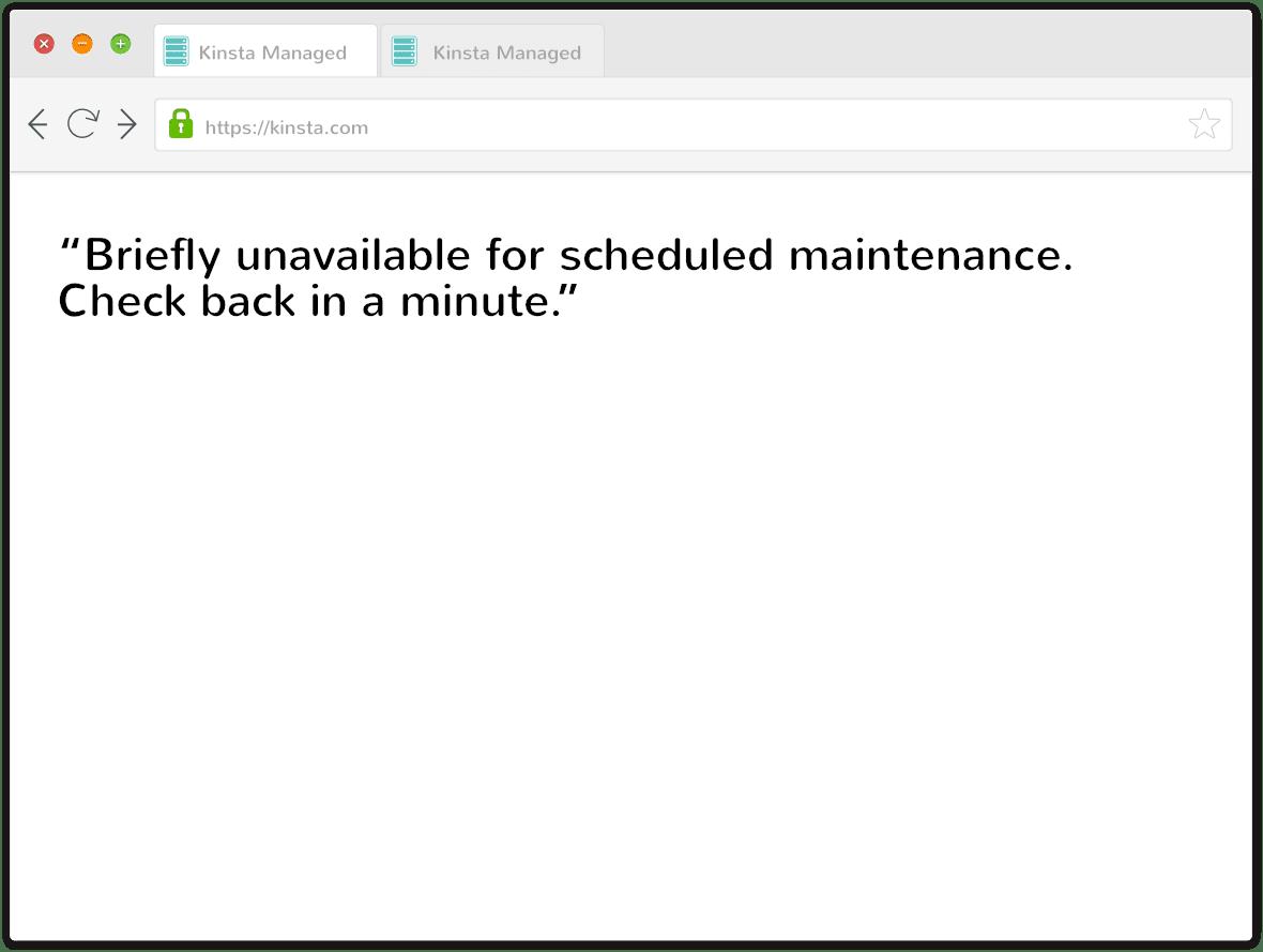 Mensaje de modo de mantenimiento de WordPress