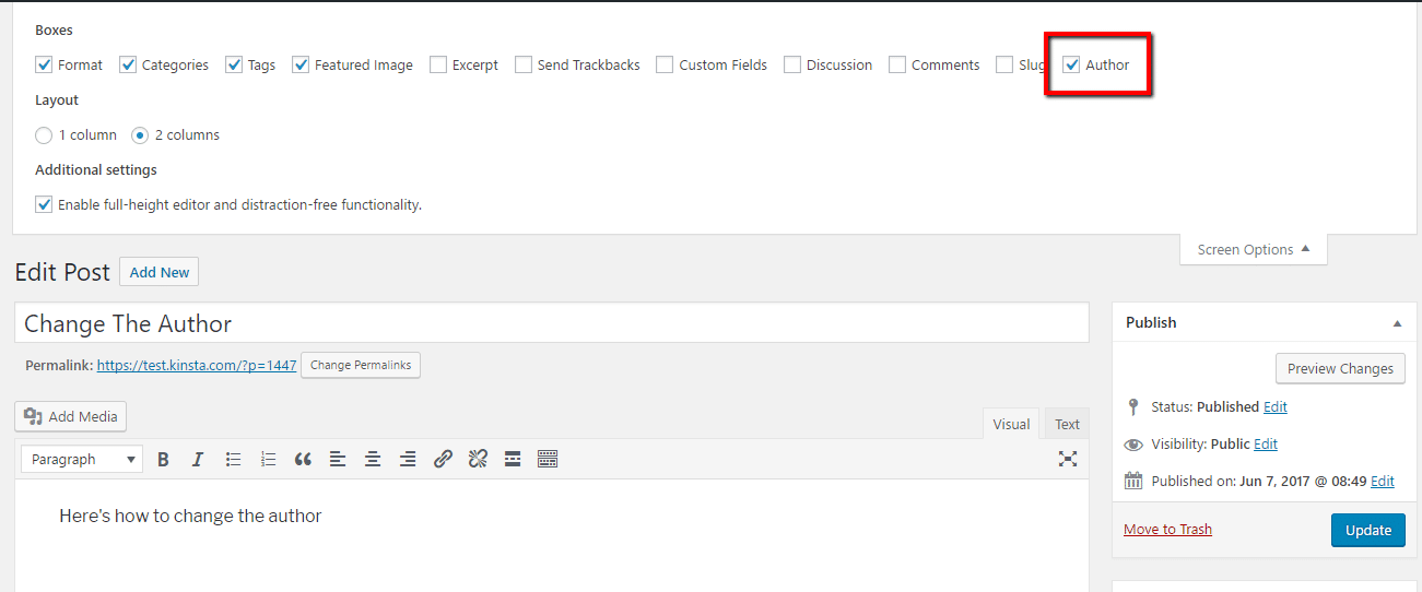 Ver opciones de autor en WordPress Editor
