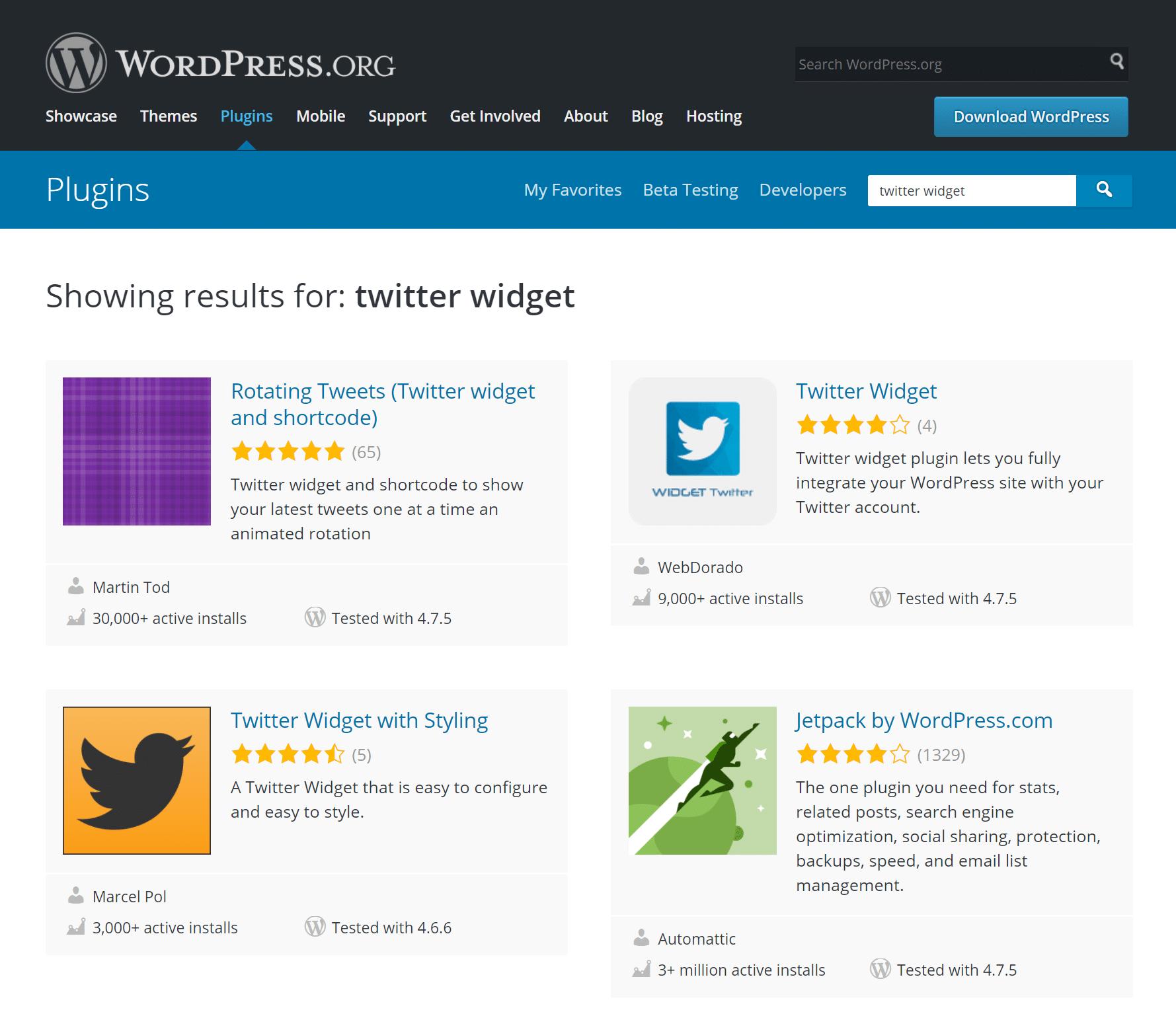 Widget plugins en directorio de WordPress