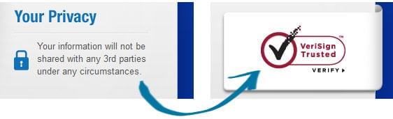 Símbolo de confianza en la página de pago