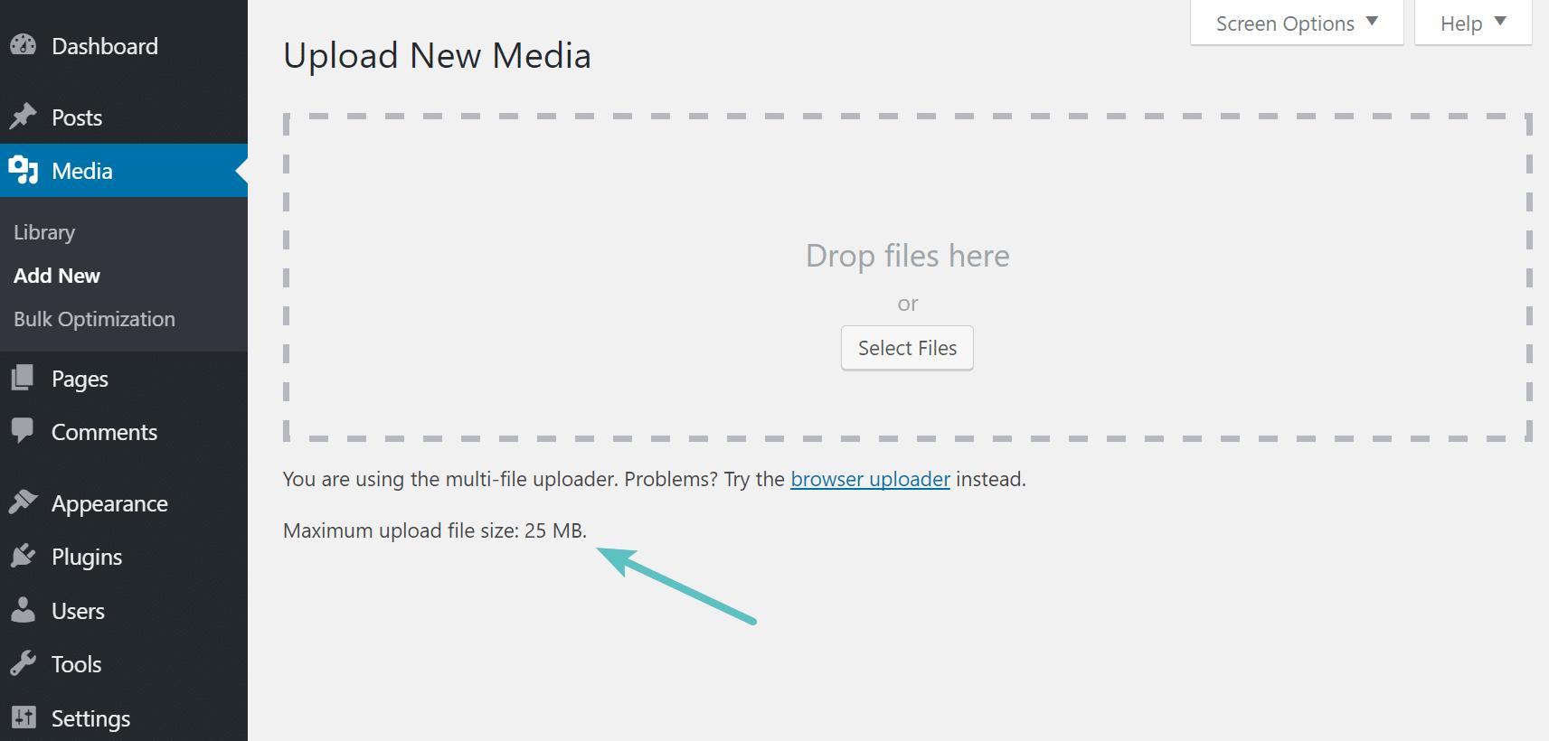 Verificar tamaño máximo de subida de archivo en WordPress