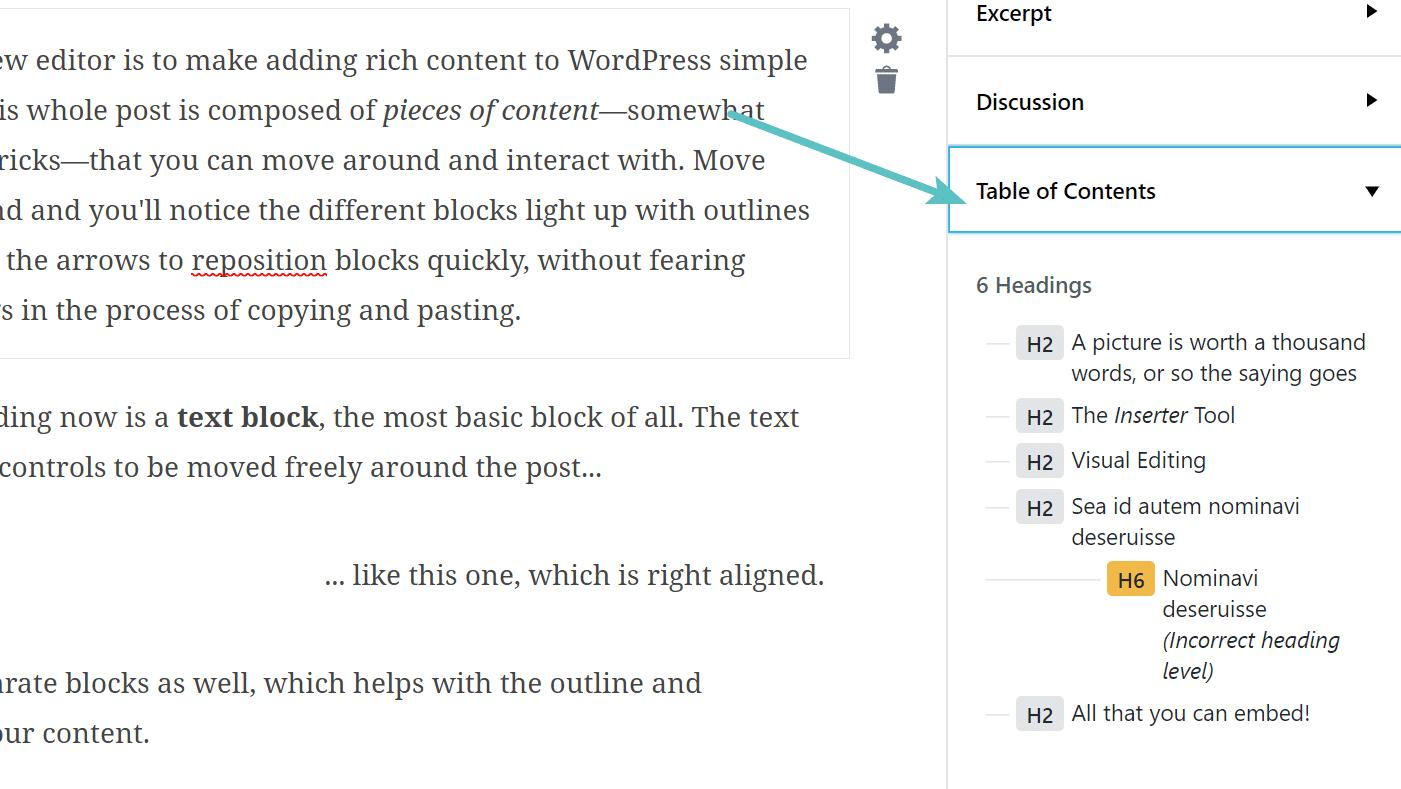 Tablas de contenido en Gutenberg