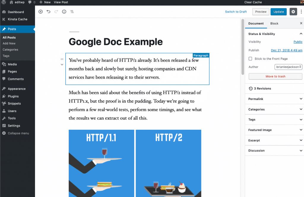 Copiando desde Google Docs al Editor de Gutenberg