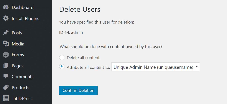 eliminar admin atribuir todo el contenido a