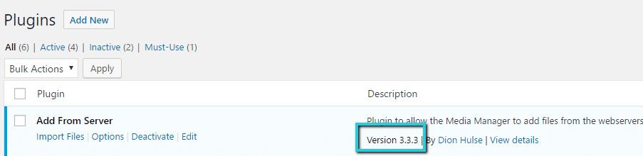 La última versión del plugin