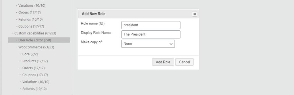 Añadiendo un nuevo rol en el Editor de Roles de Usuario