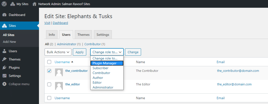 Asignación de la nueva función de usuario a los usuarios existentes en los subsitios