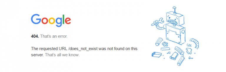 Código de Estado 404 de Google