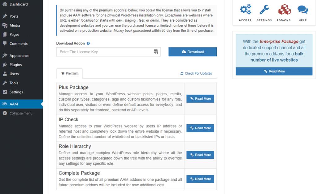 El panel de 'Complementos' en el Advanced Access Manager