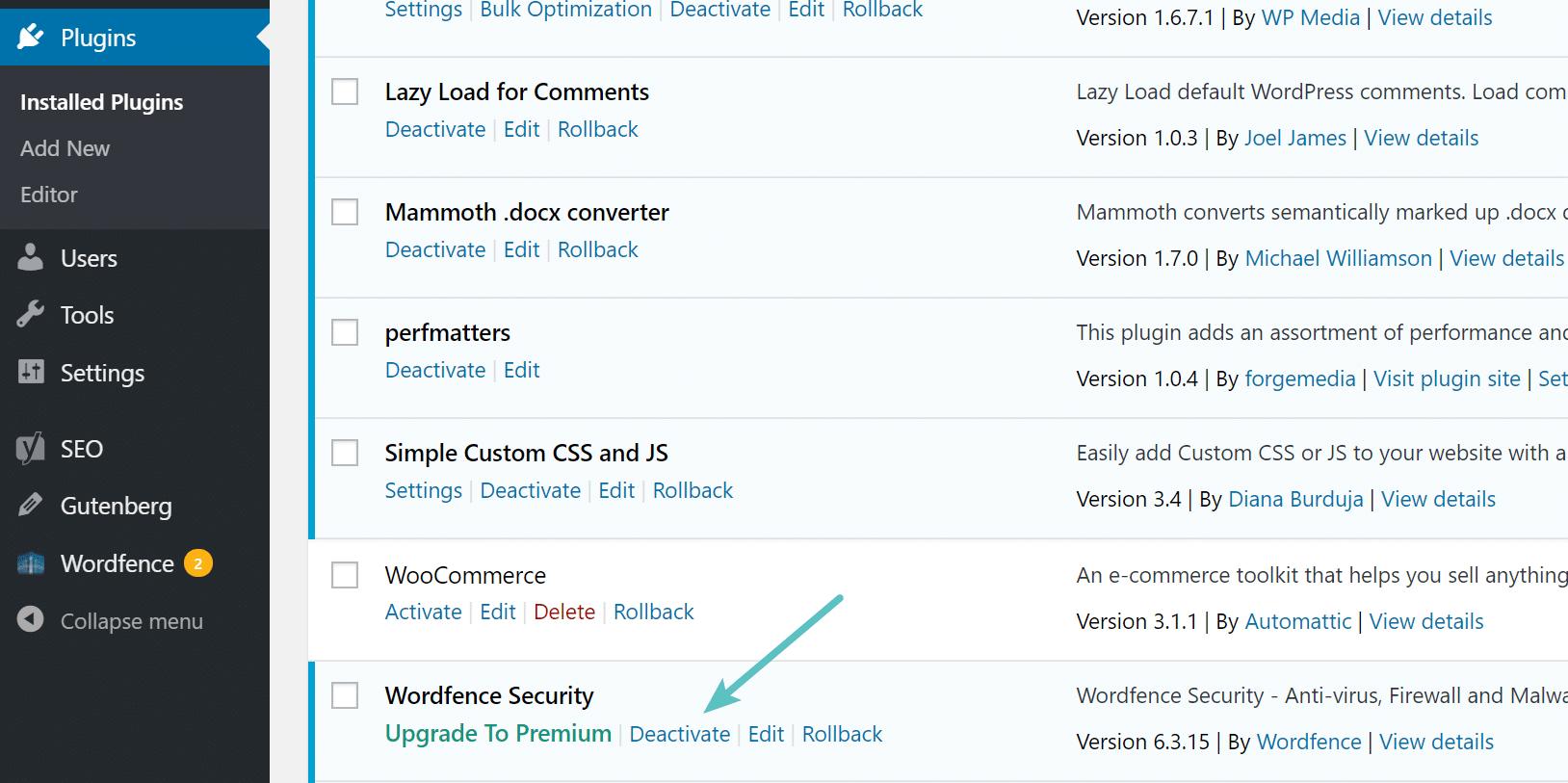 Desactivar el plugin de WordPress