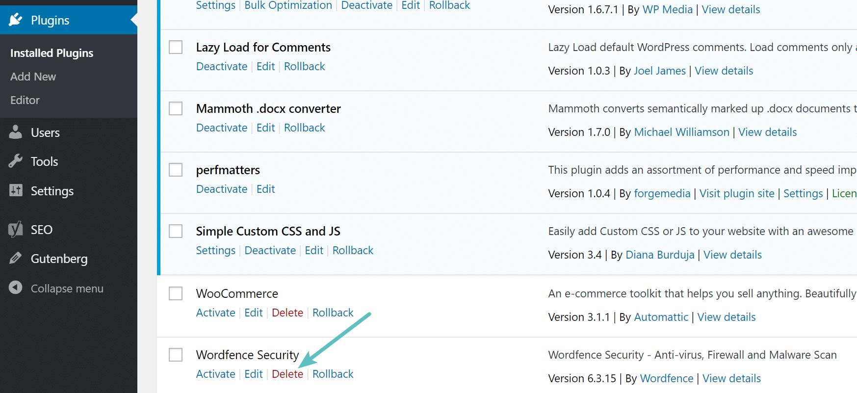 Eliminar el plugin de WordPress