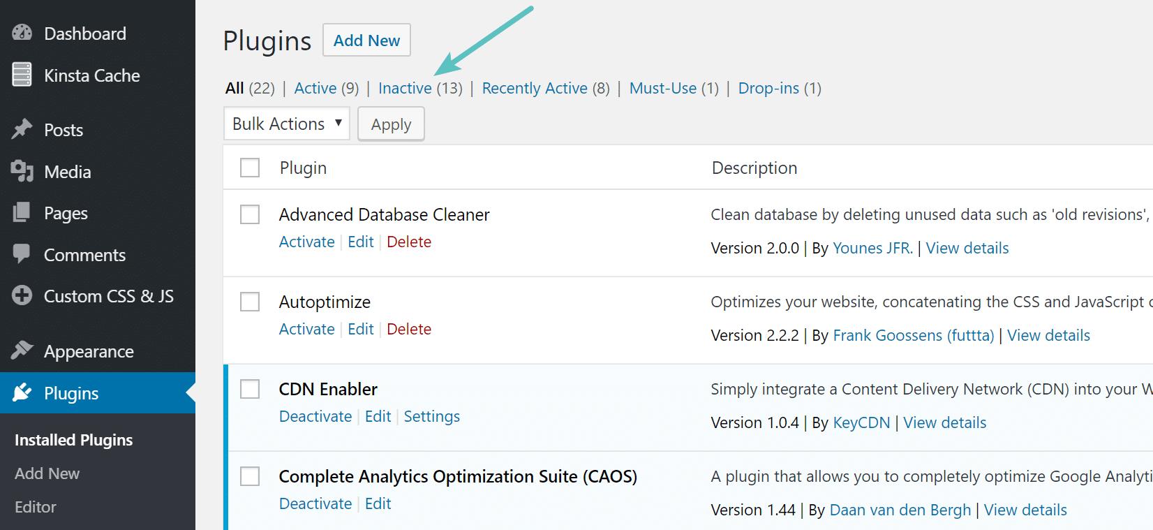 Plugins inactivos de WordPress