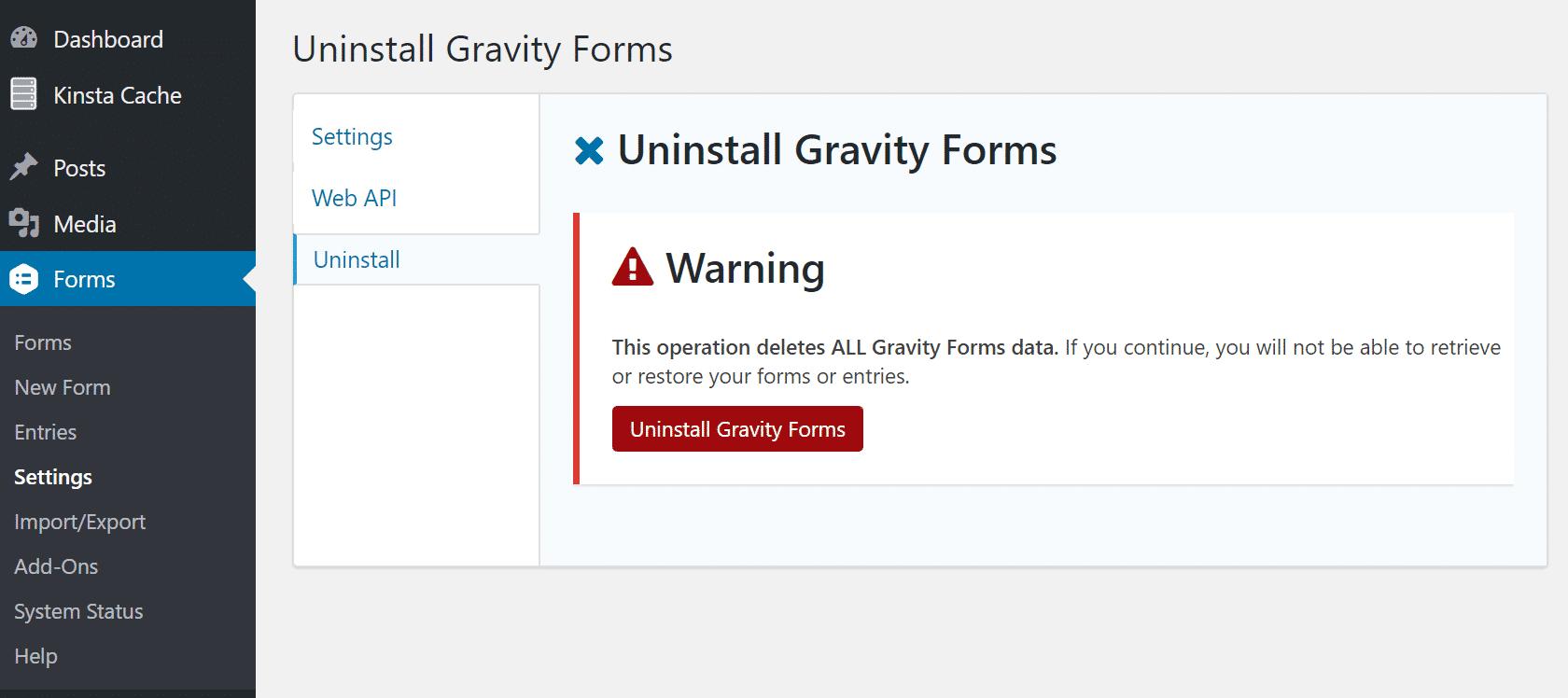 Desinstalar Gravity Forms
