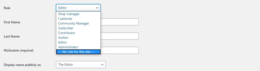 Despojar al usuario de cualquier papel