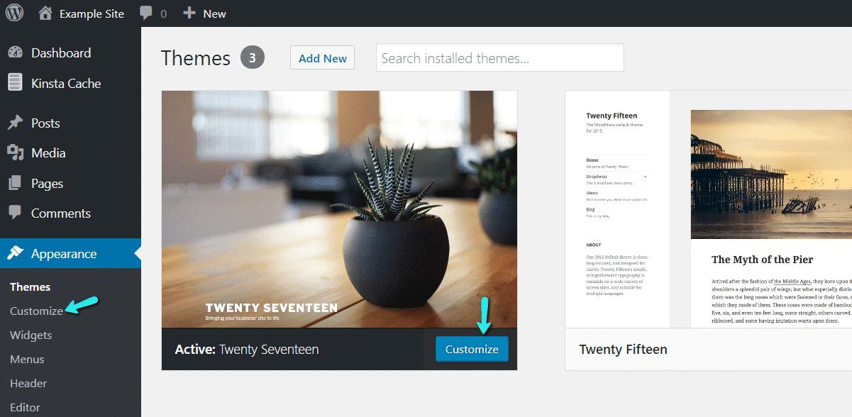 Encontrar el personalizador de WordPress