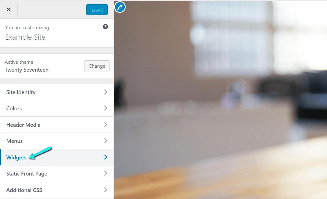 Uso del personalizador de WordPress para agregar widgets