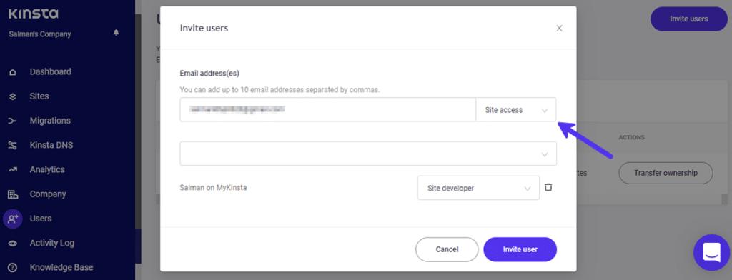 Elegir el tipo de rol cuando se invita a un usuario a MyKinsta