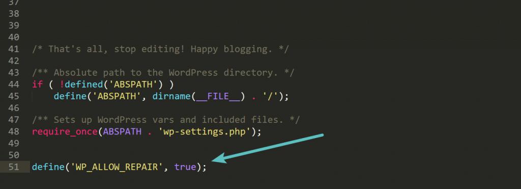 Modo de reparación de WordPress