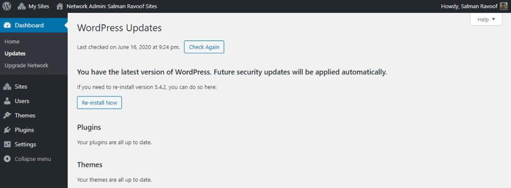 El panel de 'Updates' en el tablero de administración de la red