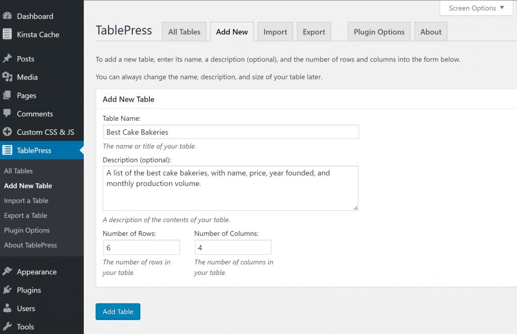 Agregar nueva tabla en TablePress