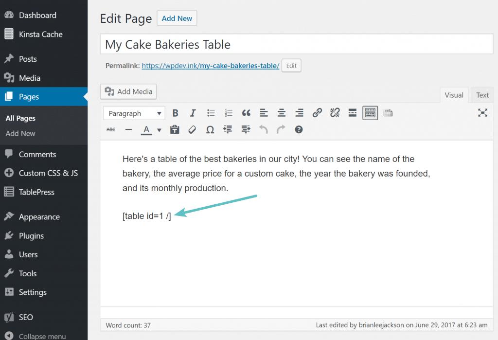 Código corto de TablePress en publicación