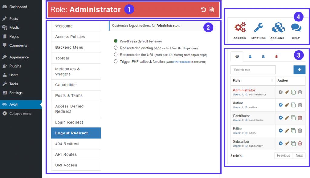 El tablero principal en Advanced Access Manager