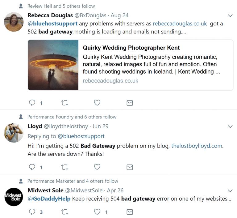 Tweets de 502 puerta de enlace incorrecta