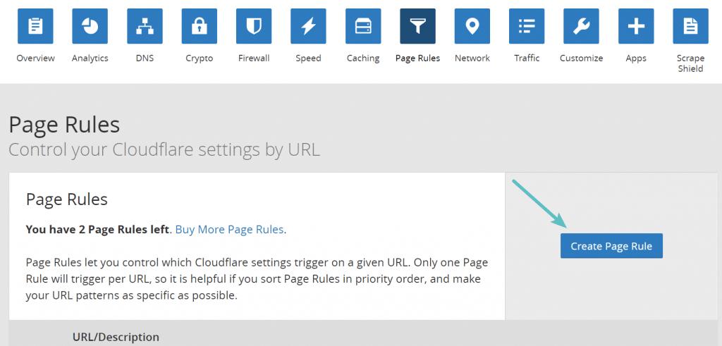 Crear regla de página de Cloudflare