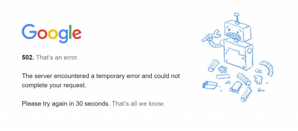 Error 502 de Google