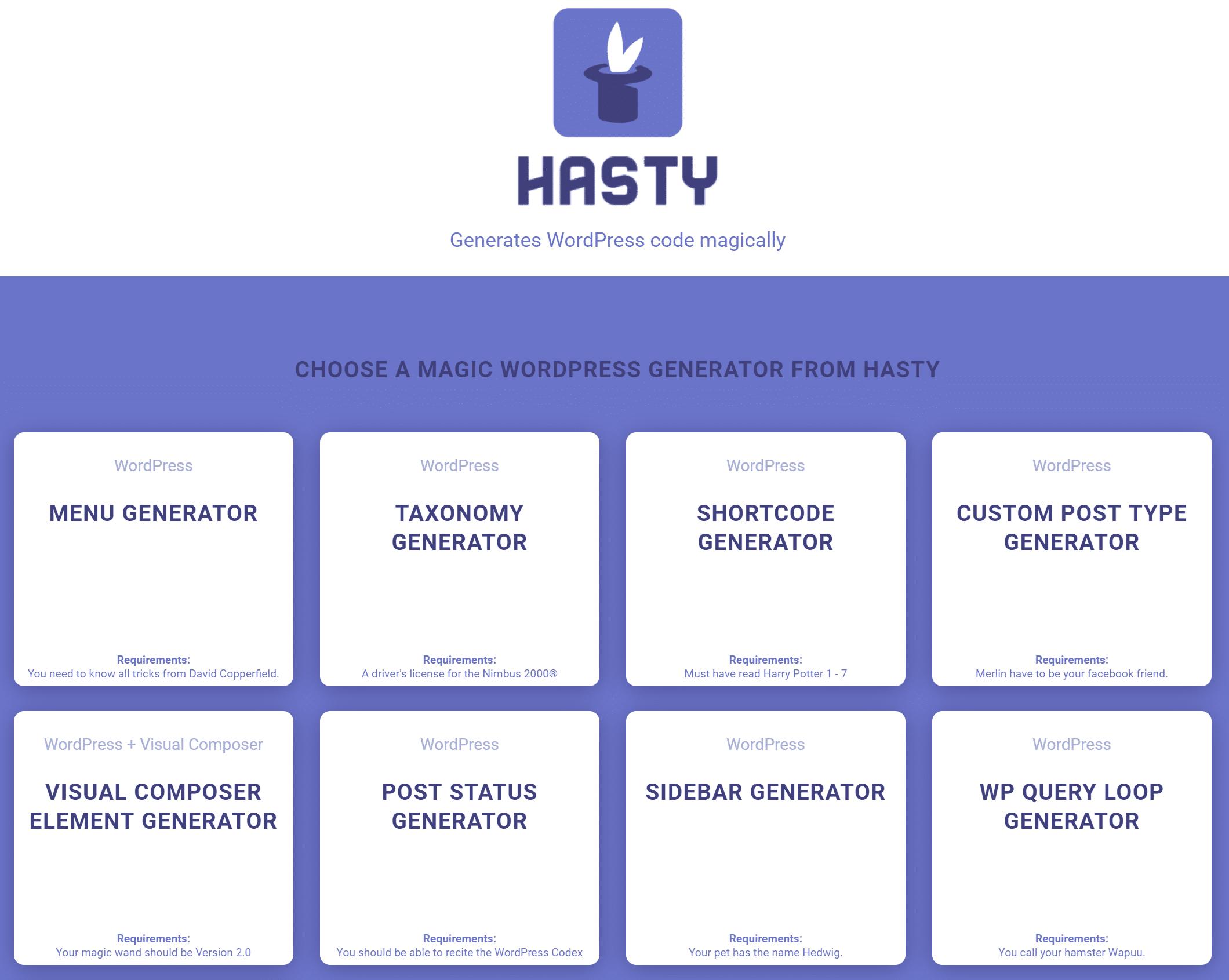 Hasty, generador de código de WordPress