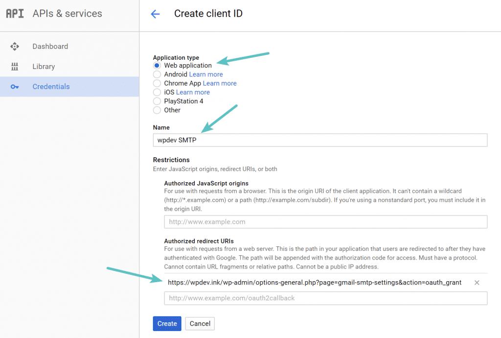 Tipo de aplicación de la ID del cliente