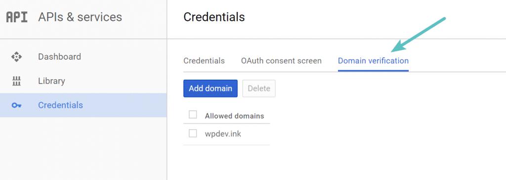 Verificar dominio en Google Developer Console